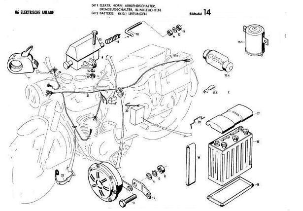 B14 - Elektr. Horn, Batterie, Leitungen