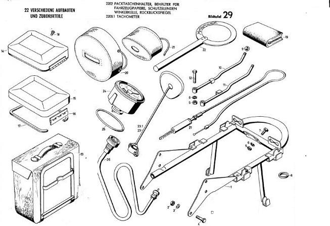 B29 - Tachometer, Paktschenhalter, Behalter für Fahrzeugpapiere, Ruckblickspiegel und winkerkelle