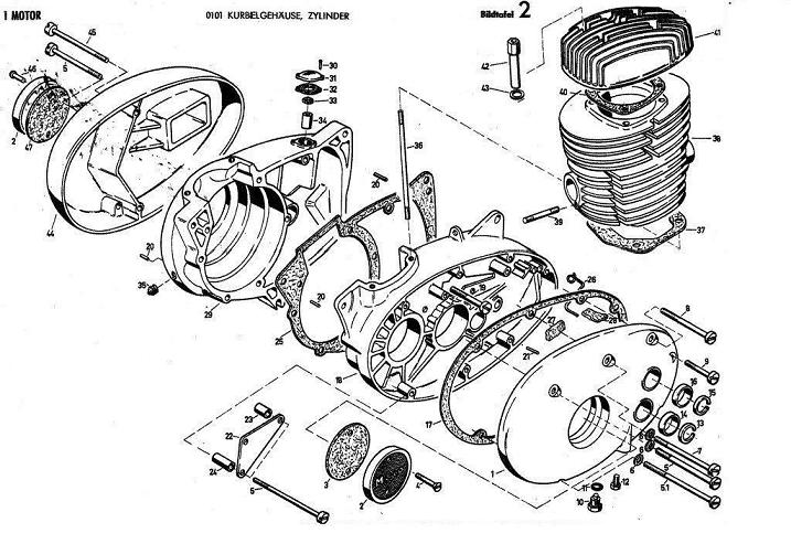B2 - Kurbelgehause , zylinder