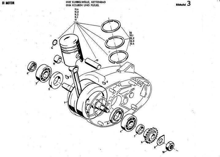 B3 - Kurbelwelle, Kettenrad - Kolben und pleuel