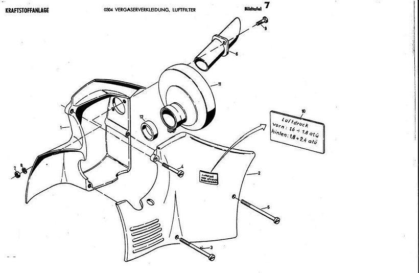 B7 - luftfiltervergaserverkleidung